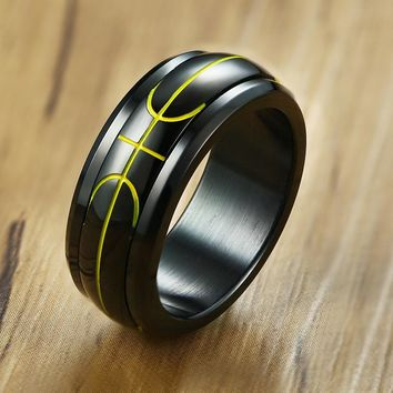 Vnox Sporty Spinner Basketball Ring For Men 8mm Stainless Steel Rotatable Band Casual Male Fraternal Rings Boy Anel Bijoux
