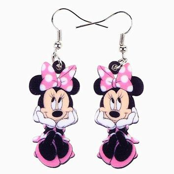 "Adorable Pink "" Minnie Mouse "" Dangle Earrings"