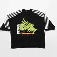 Vintage 80s Union Bay T-SHIRT / 1980s Neon Stripe Surf Style Boxy Tee Shirt