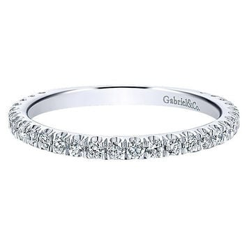14K White Gold Round Diamond Pave Stackable Birthstone Ring