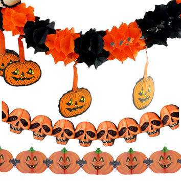 Precious Halloween Paper Chain Garland Decorations Pumpkin Bat Ghost Spider Skull Shape Pumpkin Garlands for Halloween