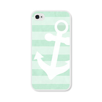 Anchor Apple iPhone 4 Case - Plastic iPhone 4s Case - Nautical iPhone Case Skin - Mint Green White Cell Phone