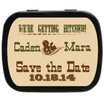 Hitched Personalized Save the Date Mint Tins for Engagements, Weddings, Party Favors, Candy Favors