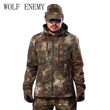 Python Grain Camouflage Hunting Jacket Mens Tactical Airsoft Paintball Camping Outdoor Sports Coat overcoat