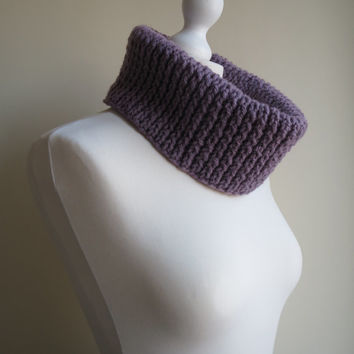 Hand-knit, Chunky and Textured Twisted Rib Cowl in 'Vintage Purple'