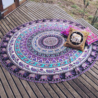 Round Elephant Indian Beach Towel Mandala Wall Hanging Plain Dyed Woven Summer Yoga Mat Boho Home Decor 150Cm Tapestry Blanket