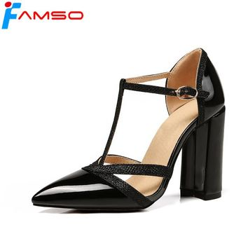 FAMSO Size34-43 2018 New Women Sandals Pointed Toe T-Strap Red Gold Silver High Heels Sandals Shoes Summer Prom Glitter Sandals