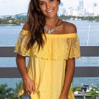 Yellow Off Shoulder Lace Top