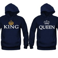 King and Queen Silver-Gold Crowns Unisex Couple Matching Hoodies