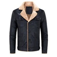 Winter Biker Thicken Washed Chest Pockets PU Leather Jackets for Men