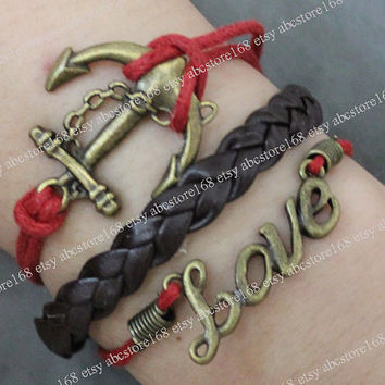 Bracelet-Antique Anchor Bracelet-Love Bracelet-Adjustable Red Rope Bracelet Braided Leather Bracelet