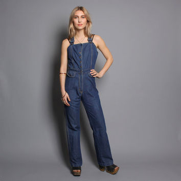 70s DENIM OVERALLS / Frederick's Bell Bottom Jumpsuit, xs-s