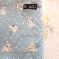 Easter Tablecloth, Large Rectangle Vintage Bunny Rabbit Tablecloth, Wipeable Vinyl, 52 x 70