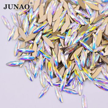 JUNAO 3*11mm Flat Back Crystal AB Glass Nail Rhinestones Glue On Strass Horse Eye Fancy Crystals Stones for Nail Crafts 50pcs
