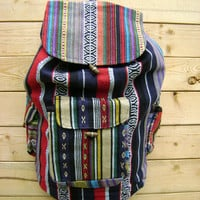 Ethnic Print 90s Backpack Vintage Mexican Drug Rug Southwestern Stripe Bookbag Slouchy Drawstring Hippie Festival Tote Cotton Handbag Purse