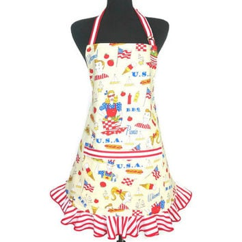 Patriotic Kitchen Apron for Women , Ruffled , Retro 4th of July Kitchen Decor , Yellow with Red and White Stripes