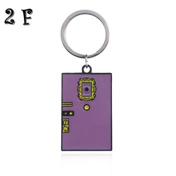 TV Shows Friends Monica's Double Side Door Keychains Photo Frame Central Park Sign Square Pendant Keyrings Fashion Jewelry