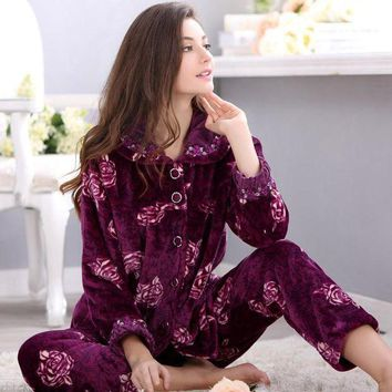 PEAPU3S 2017 New Arrival Spring&Autumn&Winter Christmas Pajamas For Women Pants Plus Size 4X Long Sleeve Coral Fleece Pajamas Set Ladies