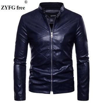 EU/US large size winter leather jacket New casual men fashion brand solid color slim fit stand neck UP Leather clothes