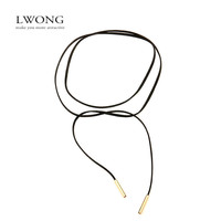 2016 New Fashion Black Suede Leather Wrap Choker Gothic Boho Tie Cord Velvet Chokers Necklace Jewelry for Women 150cm Length