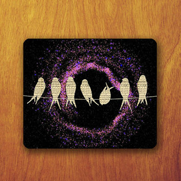 Bird Vintage Mouse Pad Beautiful Galaxy Note Piano Abstract Hipster Office Pad Work Accessory Personalized Custom Gift