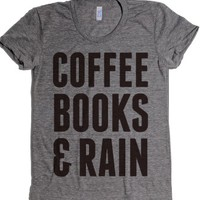 Coffee Books & Rain-Female Athletic Grey T-Shirt L |