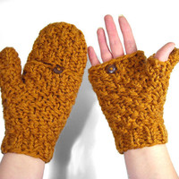 Chunky Knit Mittens that Convert to Fingerless Gloves