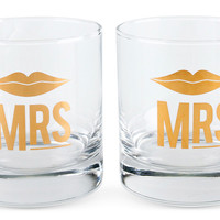 Mrs. & Mrs. Cocktail Glass Set