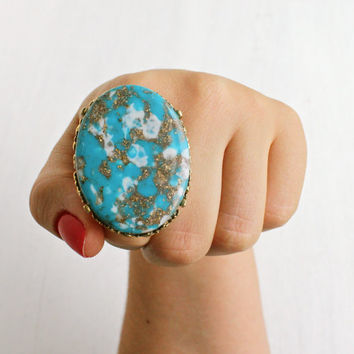 Huge Vintage Faux Turquoise Ring - Retro 1970s Gold Tone Adjustable Statement Costume Jewelry / Gigantic Marbled Teal, While & Gold Lucite