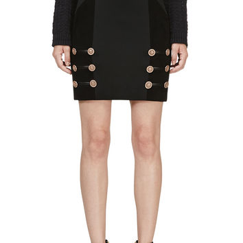 Versace Black Suede Panel Mini Skirt
