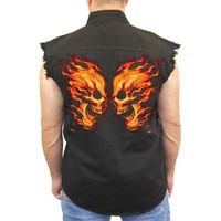 Men's Sleeveless Denim Shirt Flame Skull Face Off Biker