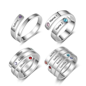 Personalized Custom Rings with Engraved Name and Birthstone for Women  great Gift idea
