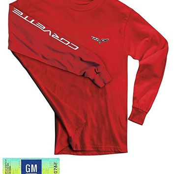 C6 Corvette Men's Long Sleeve Shirt w/Corvette Script on Sleeve - Red