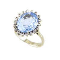Vintage Synthetic Blue Spinel Ring in 18k White Gold // Light Blue Gemstone Ring, Free Domestic Shipping