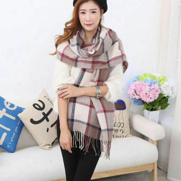 7 Color 2017 Womens Scarf Long Fashion Casual Warm Cashmere Shawl Plaid Infinity Scarf Knitted Scarf Women Winter Scarves