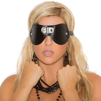 Leather blindfold with D ring detail *Available Boxed Black