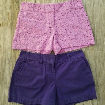 2 Pair Ann Taylor Loft Shorts Floral Lace Marisa Purple and Casual Eggplant Sz 4