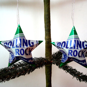 Rolling Rock Extra Pale Beer Can Aluminum Stars - Set of 2 Recycled Christmas Ornaments or Gift Toppers