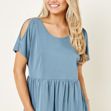 So Much To Say Dusty Blue Cold Shoulder Top