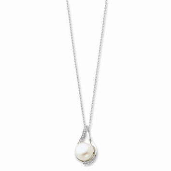 Sterling Silver Cultured Pearl & CZ Forever (Embrace) Necklace