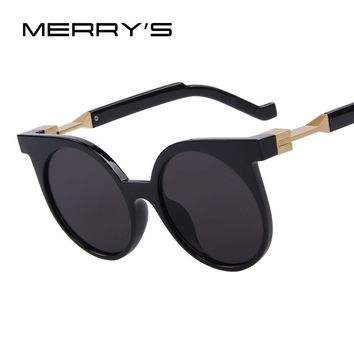 New Fashion Unique Flat Coating Lens Cat Eye Women Sunglasses Brand Designer Vintage Round Sunglasses UV400