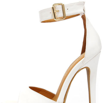On a Cloud White Platform Ankle Strap Heels