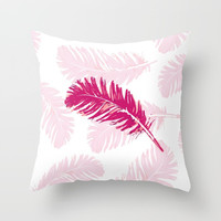 Pink feather Throw Pillow by Julia Grifol Designs