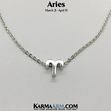 ARIES | Zodiac | Astrology Collection: 18K White Gold | Birth Sign Necklace