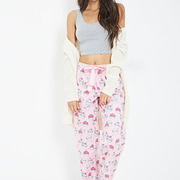 FOREVER 21 Cupcake Print Flannel PJ Pants Pink/White