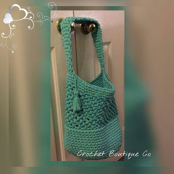 crochet bag, summer tote, large crochet beach bag, boho purse, turquoise handmade summer bag, festival bag