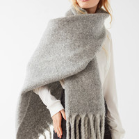 Nubby Contrast Fringe Woven Scarf   Urban Outfitters
