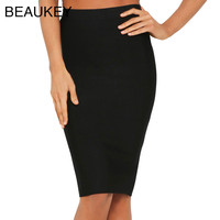 Black Simple Solid 2016 New Rayon Knitted   Bandage High Waist Sexy Women's Knee Length Pencil Skirt