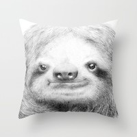 Sloth Throw Pillow by Eric Fan