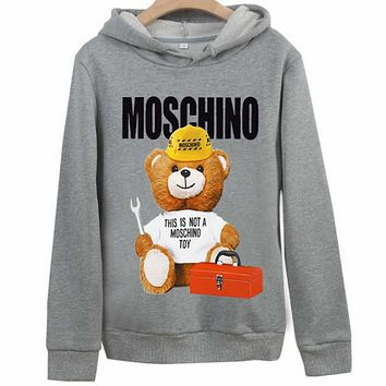 Moschino autumn and winter new tide brand bear print couple models hooded sweater grey